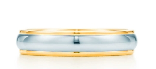 Tiffany Classic wedding band ring in 18k gold and platinum, $1,525.