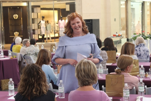 The O Report Publisher Olivia Fortson talks with guests at the  Stay Sassy, Stay Chic  fashion seminar April 5 in Circle Court of SouthPark Mall.   All photos by Daniel Coston.