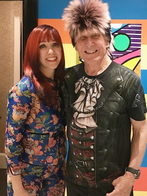 Wig Party hosts Regine and Andreas Bechtler. Regine wore a red wig and Andreas channeled his inner rock star.