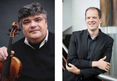 Concert master Calin Lupanu (left) and principal tuba Aubrey Foard are among the Charlotte Symphony Orchestra musicians performing May 11-12.