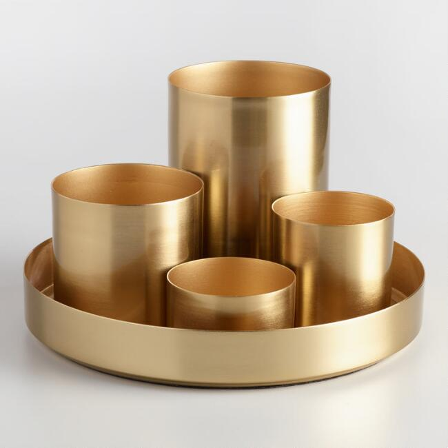 Gold 4 Cup Kiara Desk Organizer With Tray, $29.99. World Market