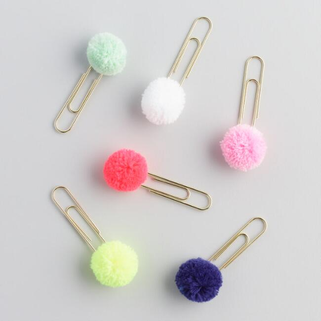 Pom Pom Paper Clips Set Of 6, $7.99. World Market
