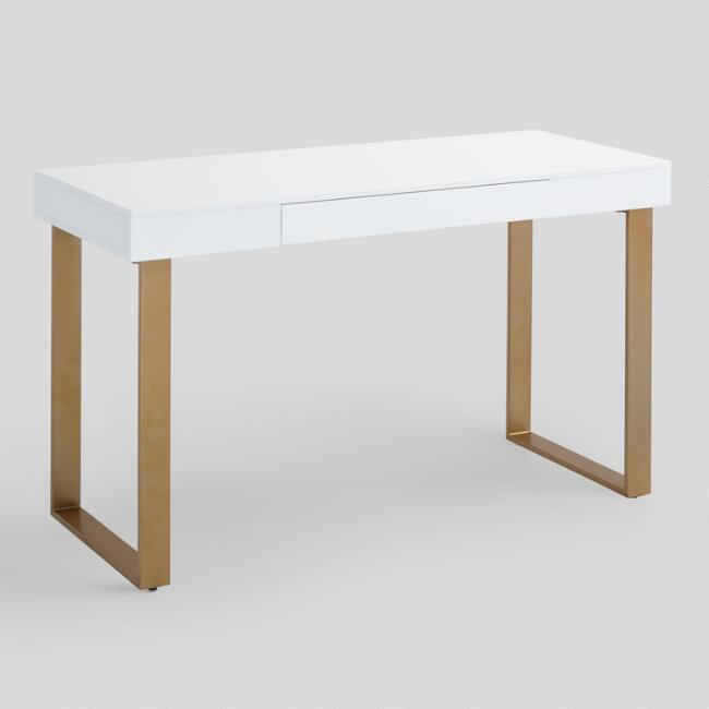 White And Gold Desk Standing Wall Desk