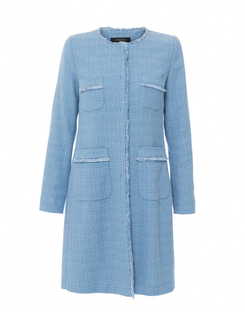 A two-piece tweed set that works beautifully on its own or when paired with other pieces.  Max Mara Ottico Sky Blue Tweed Coat, $575.