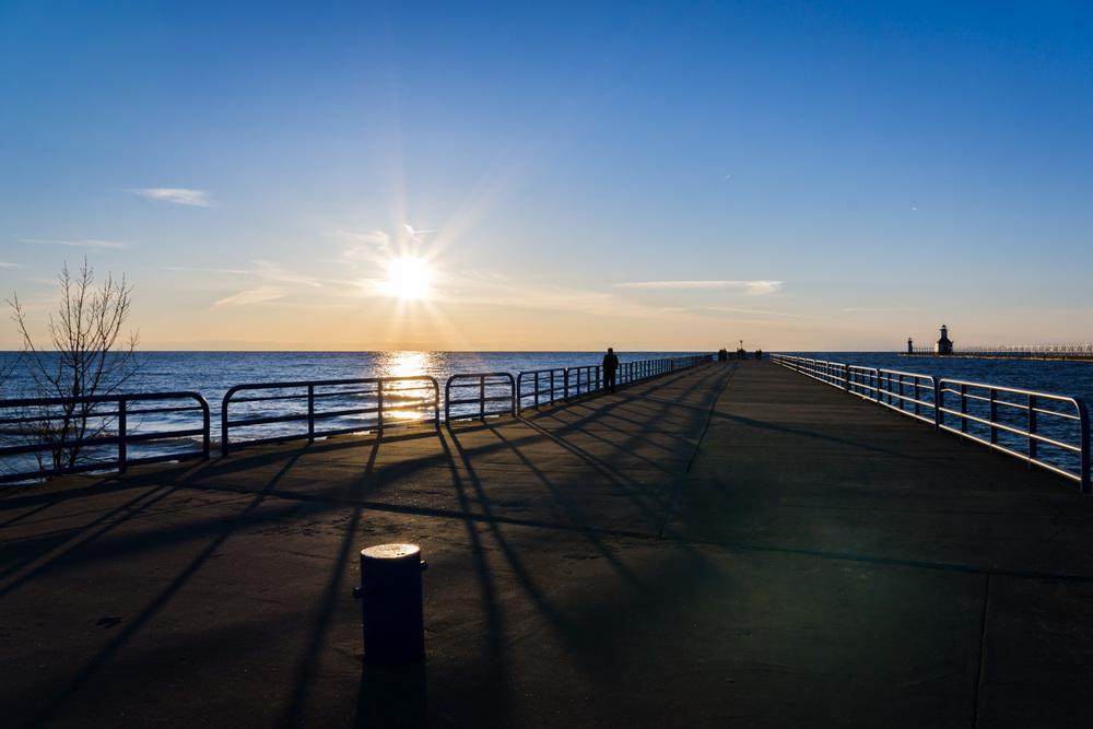 Sunset at Lake Michigan pier.