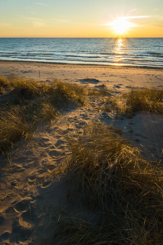 Bright sunset on Lake Michigan