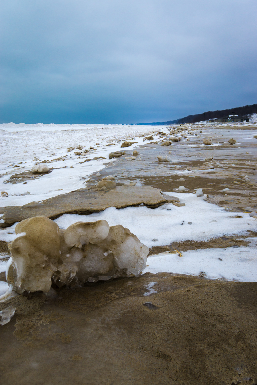 Clusters of sand and ice on Warren Dunes beach