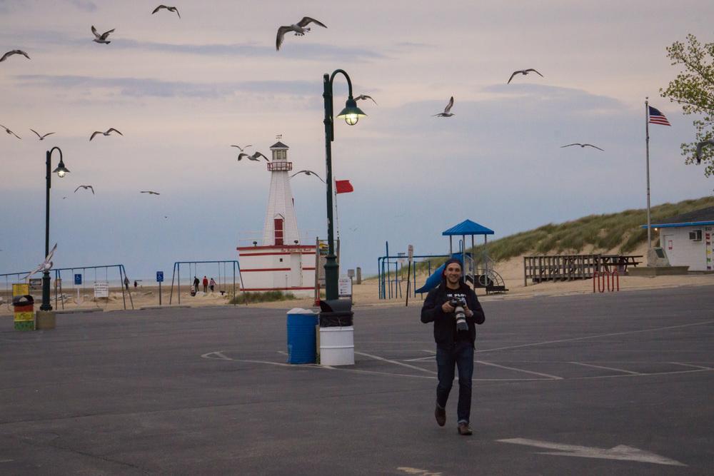Ron Delhaye chasing seagulls.