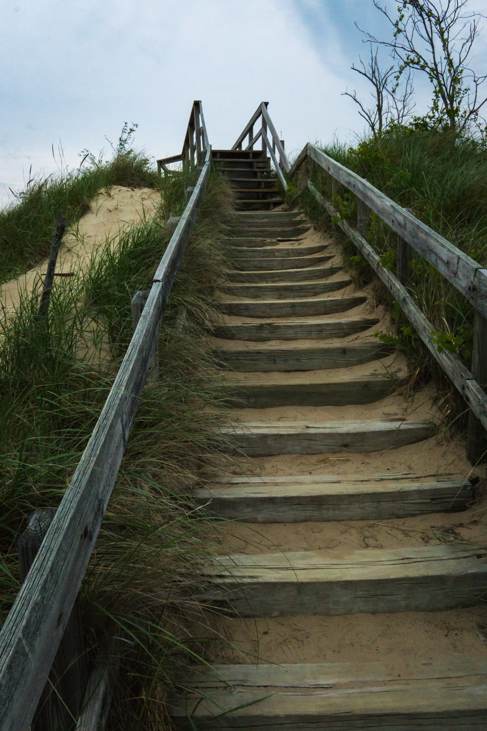 Stairway to top of dunes at New Buffalo beach.