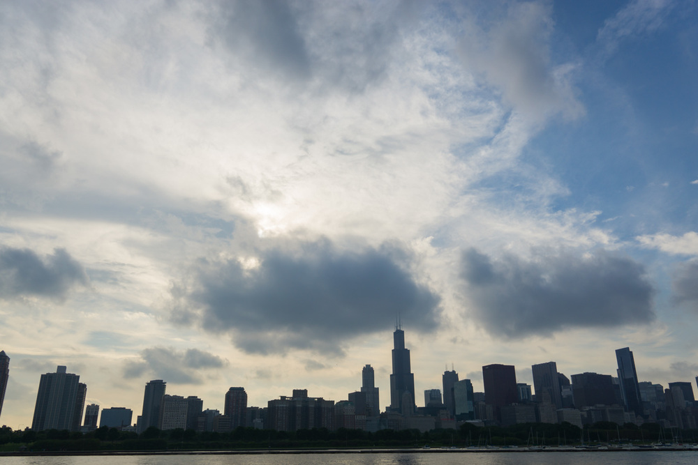 The famous Chicago skyline after a storm