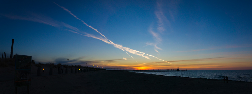 Colorful sunset at Michigan City's beaches