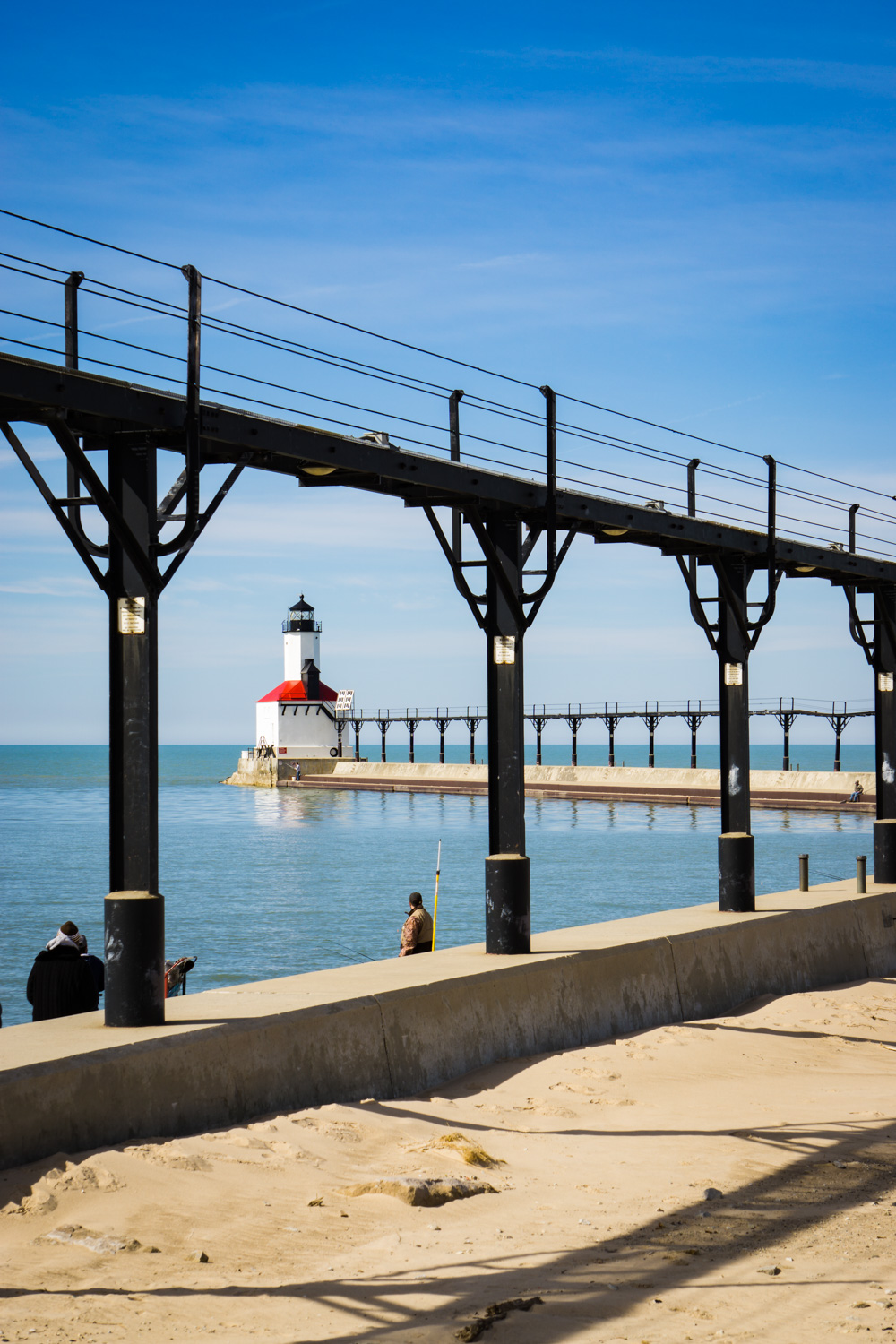 Fisherman starting to arrive at Michigan City's Old Lighthouse