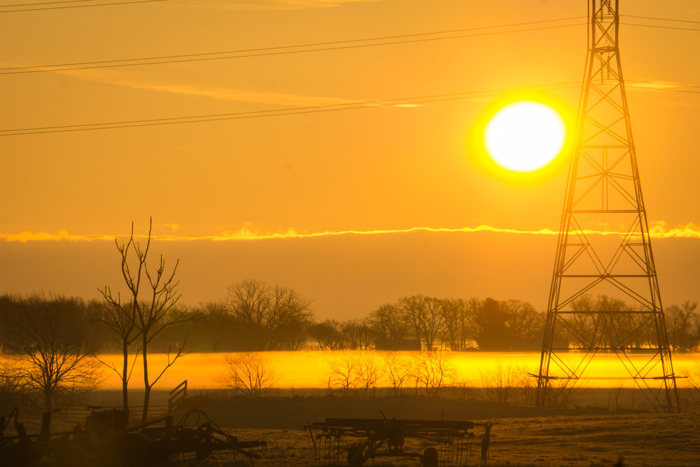 Sunday morning sun greeting the farmlands of Indiana