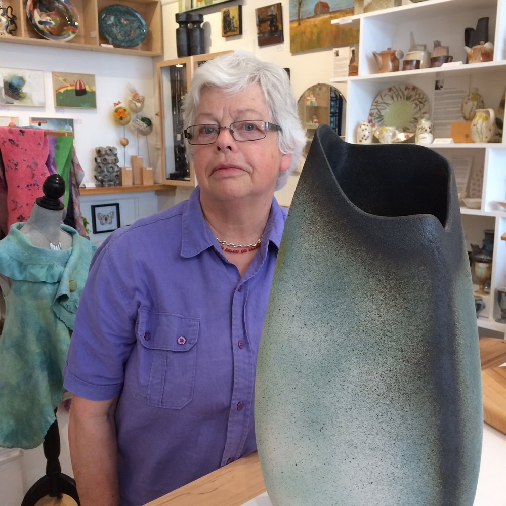 Janet with one of her pieces from the June 2018 exhibition at the General Fine Craft gallery in Almonte, Ontario. (Details of the exhibition are available at www.generalfinecraft.com.)