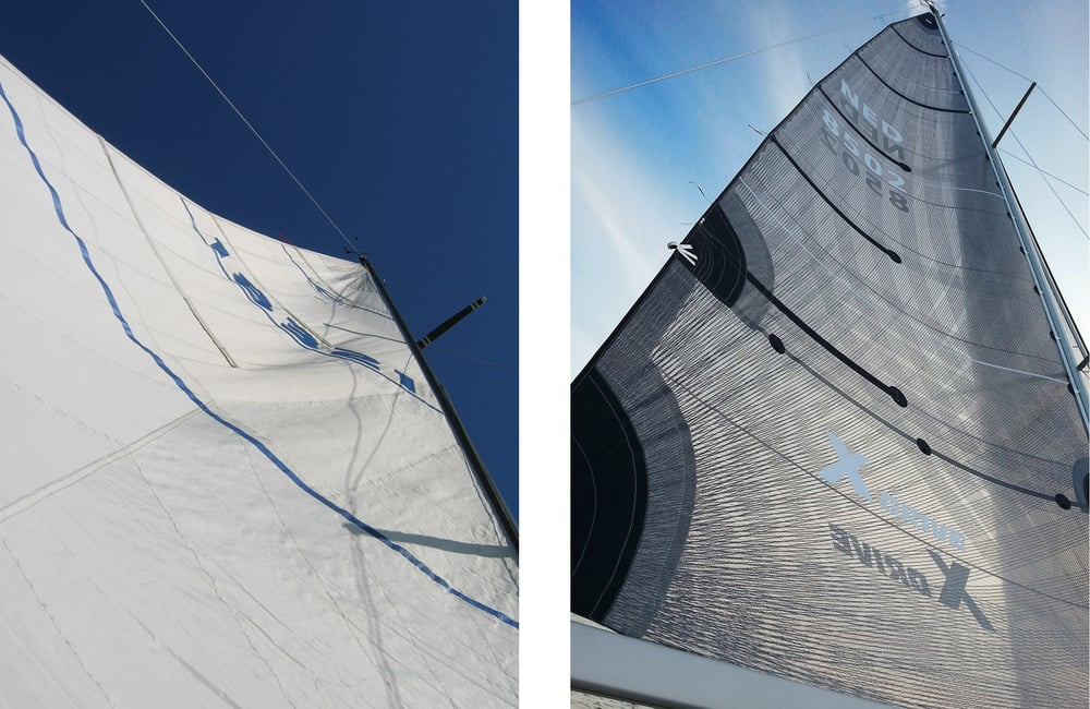 A blown out mainsail on the   left   shows distortion wrinkles and the draft point too far aft, both of which prevent the sail from giving any aerodynamic lift. Compare it to the sail on the   right  , which is a smoother, perfectly shaped X-Drive sail.