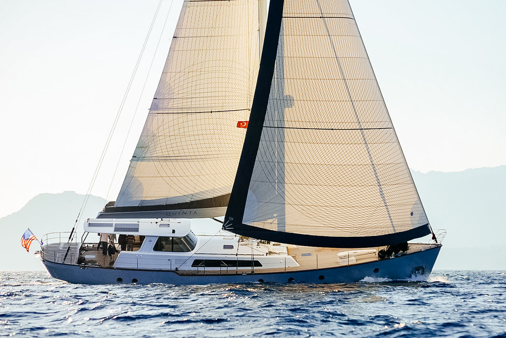 The 80-foot custom motor sailor QUINTA with a Spectra Tape-Drive Passagemaker genoa and full-batten mainsail.