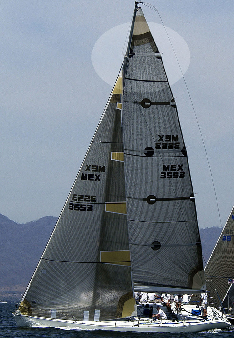 Titanium mainsail with a full length top batten and four partial length battens.