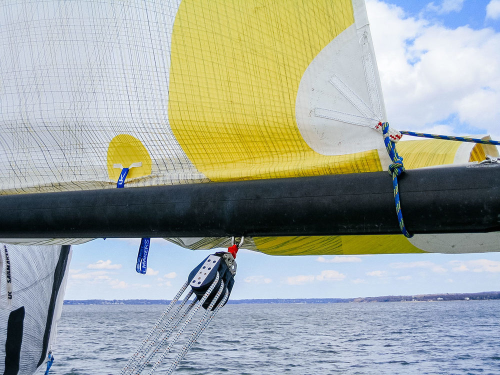 When tying in a reef diamond make sure to tie around the sail only and not around the boom.