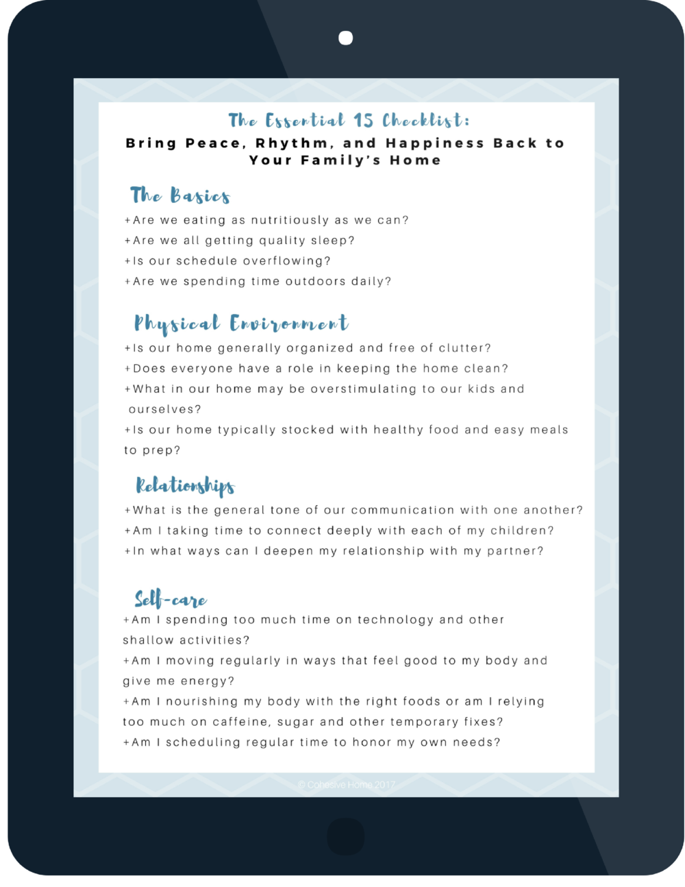The Essential 15 Checklist Download