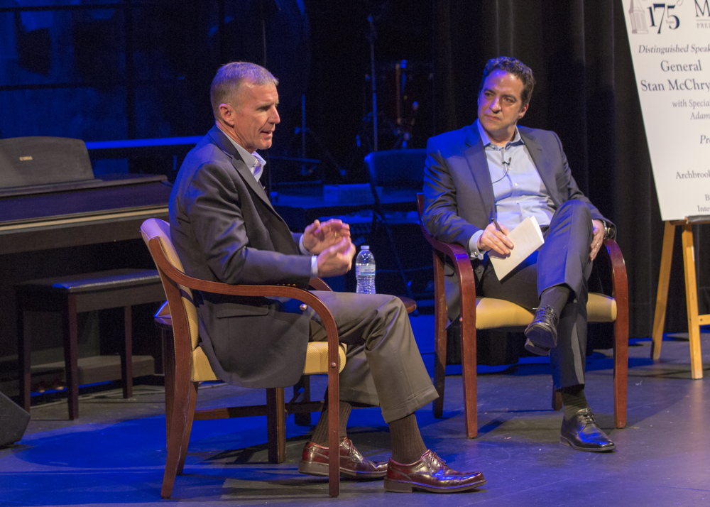 "Gen. Stan McChrystal in conversation with Adam Bryant, NY Times author of ""The Corner Office,"" at Malvern Prep, April 3, 2017 (photo credit: Bob Colameco)"