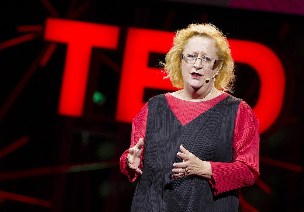 """Margaret Heffernan delivering her TED talk, """"Forget the pecking order at work."""""""