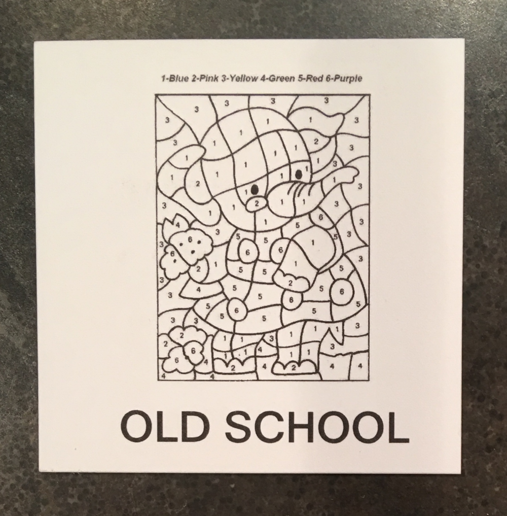 "Card 2, front: ""Old School"" = paint by numbers"