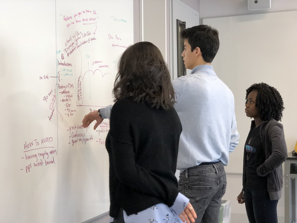 Students in D4i at Avenues (NYC) plot out the experience they want to design for participants in their workshop at SXSWedu