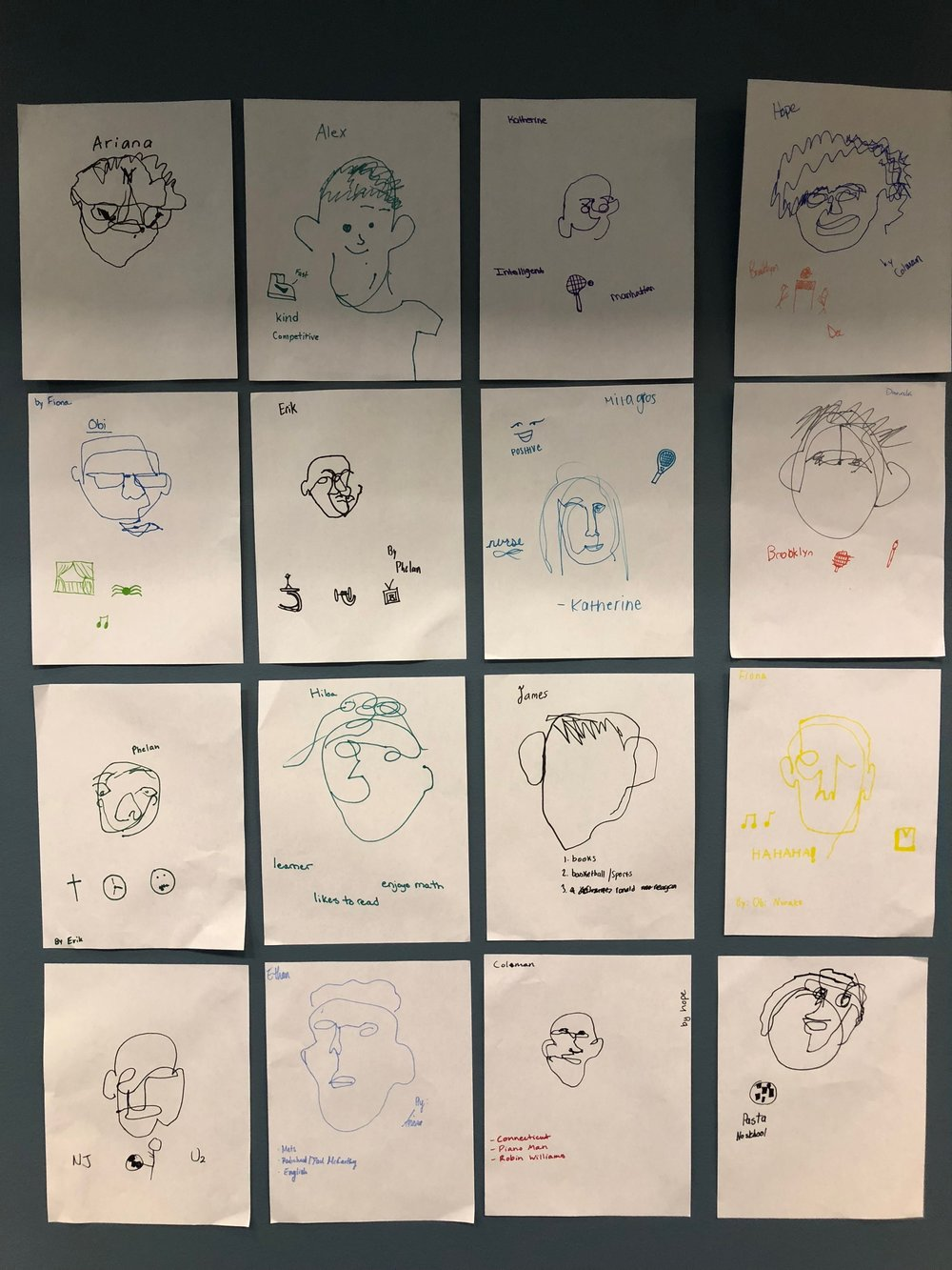 """Blind portraits from  Expeditionaries  October 2018, hosted by Fordham University's Social Innovation Collaboratory. The portraits plus empathy interviews and strengths-based reflections allow learners the opportunity to recognize that their peers are """"smart"""" in a lot of different ways."""