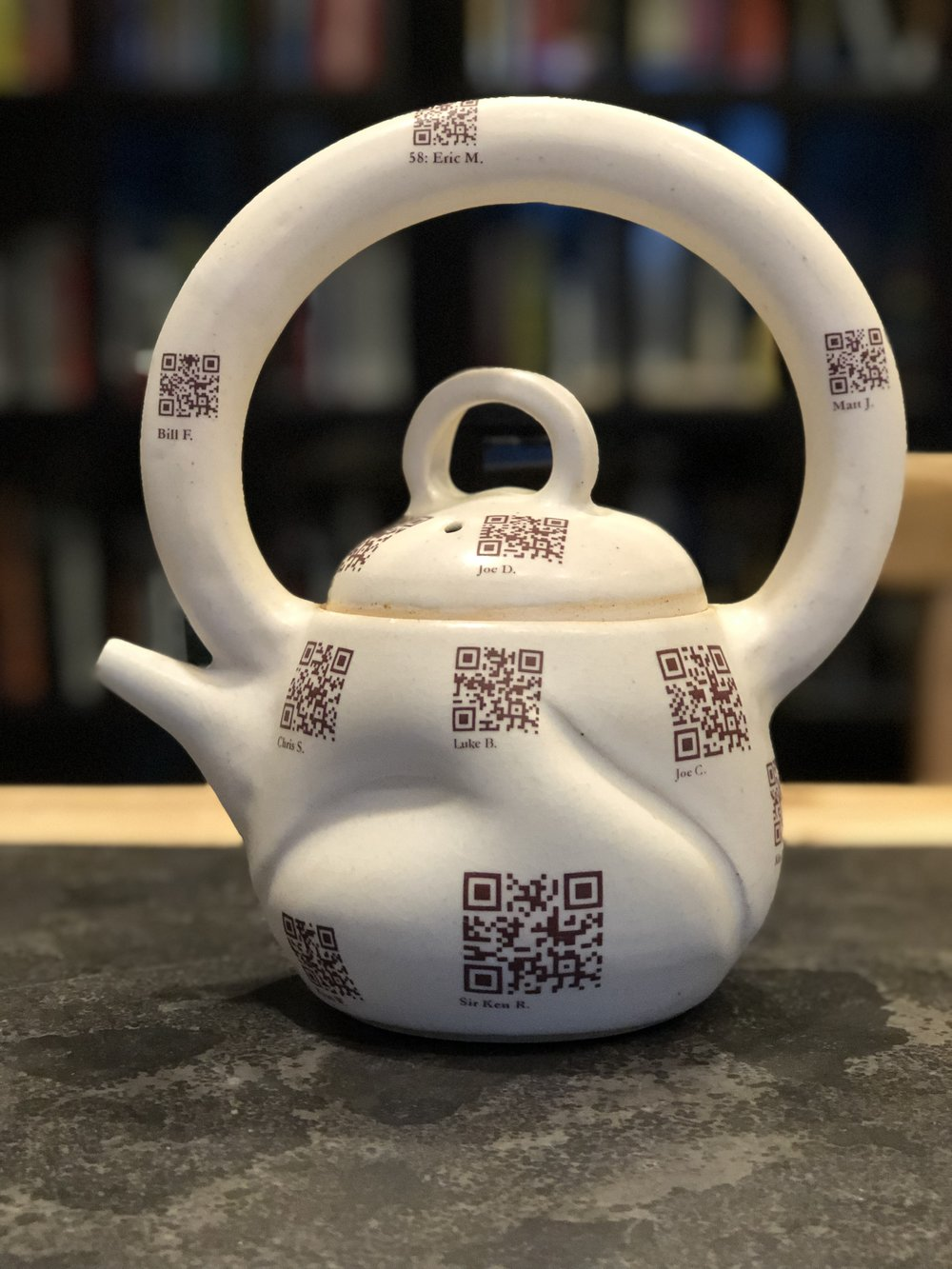 "A tea pot crafted by a Malvern Prep student in 2013 as part of an exploration of ""flow."" The bottom-center QR code brings you to  this brief interview with Sir Ken Robinson , conducted by a Malvern Prep student. The ""MP Flow"" project, as it was called, illuminated the differences between a creation mindset and a consumption mindset."