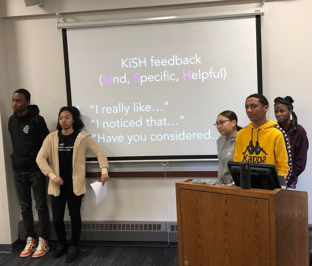 After pitching v1 of their prototype solution, the KIPP College Prep team listens to feedback from other teams. To navigate complexity, learners need feedback loops that are fast, focused, friendly, and forward-looking. (The 4 F's?)