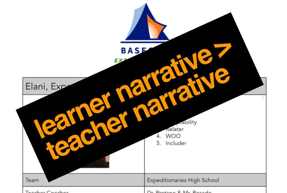 Learner Narrative > Teacher Narrative