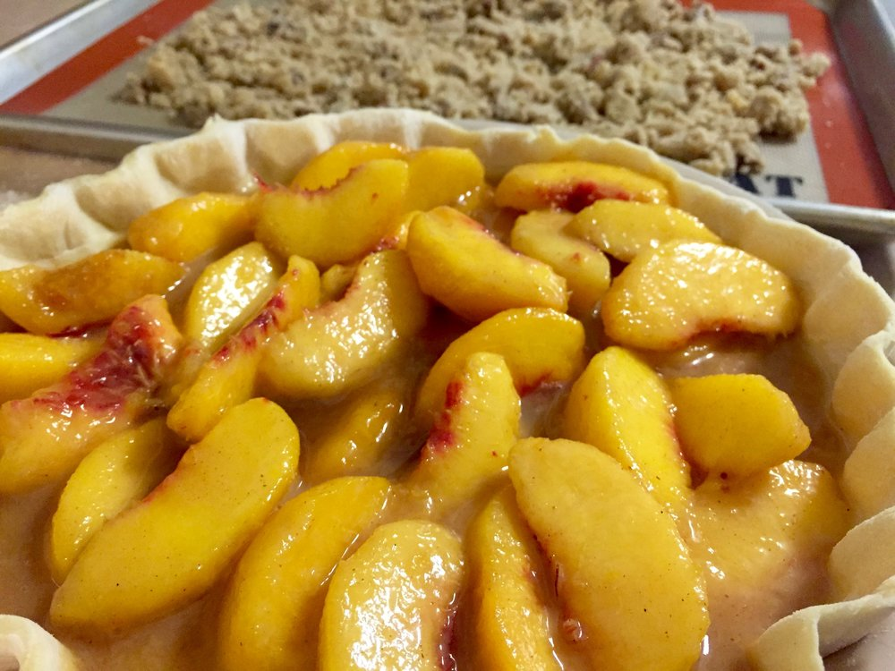 Spiced peaches with maple-bourbon caramel? Yes please.