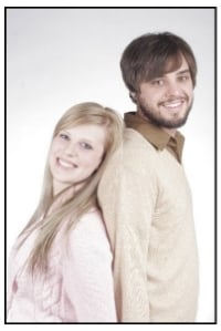 couple in front of white background
