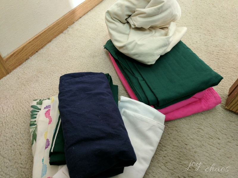 donated sheets pillowcases clutter