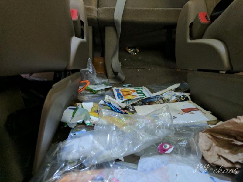 inside car clutter