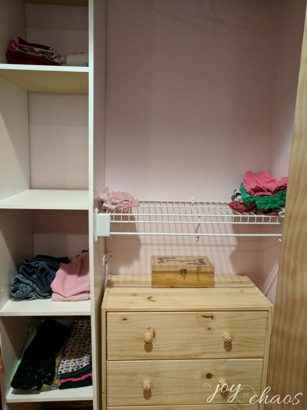 closet shelf cleared of clutter