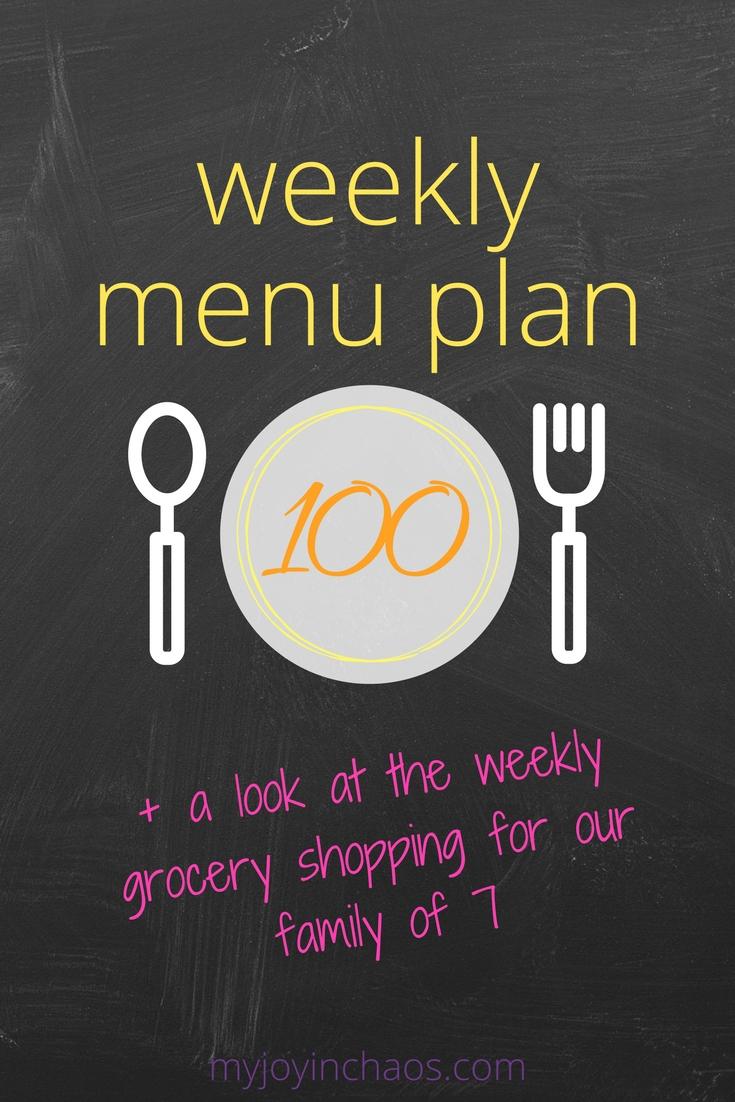 weekly menu plan grocery shopping