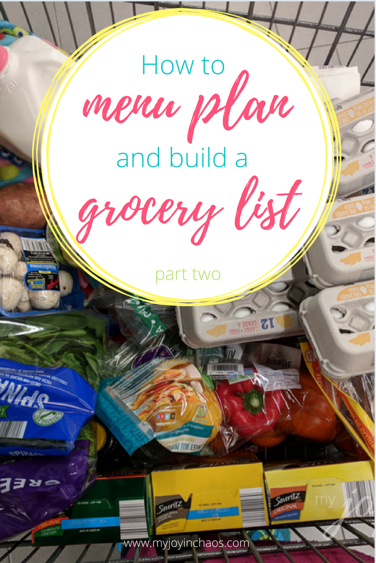 how to menu plan grocery list