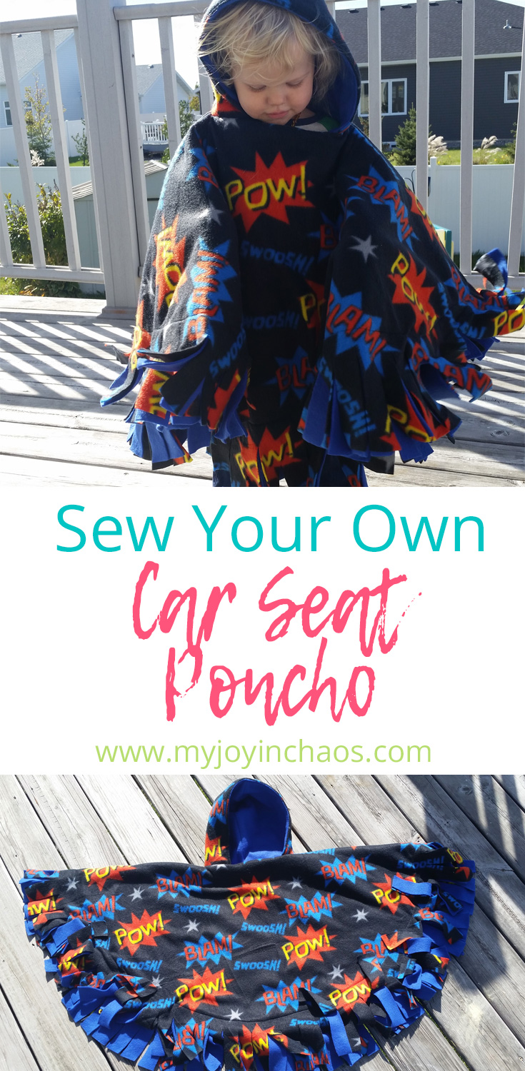 Keep your kids safe and warm in their car seats by sewing your own car seat ponchos! #carseat #wintersafety #carseatsafety