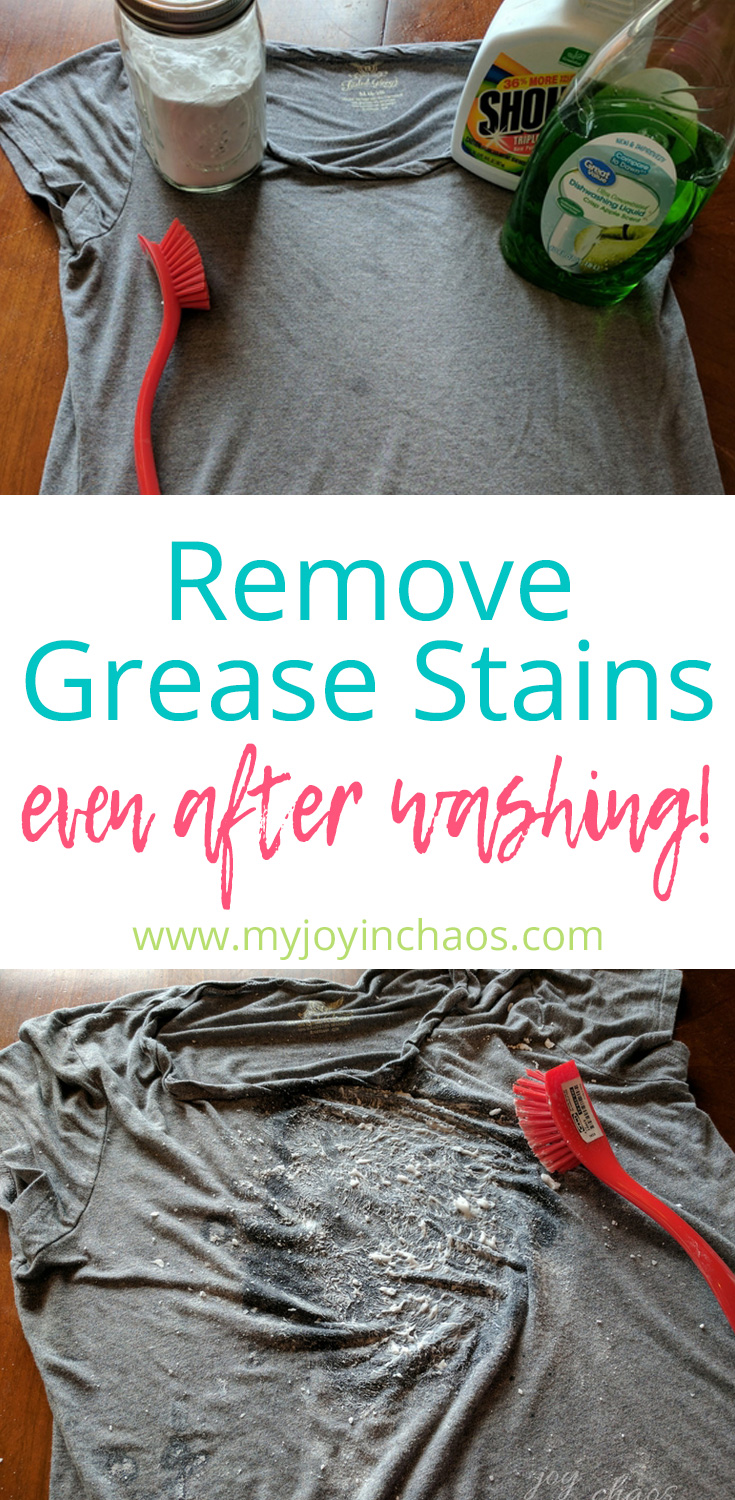 Remove grease stains even after they are set and have gone through the wash using common household items #diycleaner #greasestains #removegreasestains #laundrytips