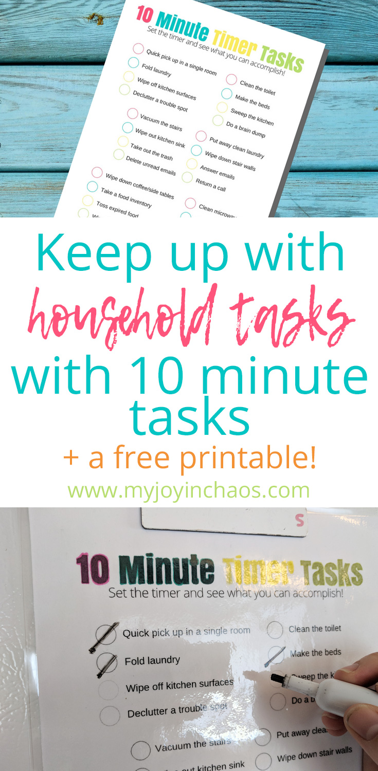 Stay on top of easy to dismiss household chores with this one page free printable checklist! Stop telling yourself you don't have time and get them done in the margins of your day. #homemaking #chores #quickchores #tenminutetasks #householdtasks