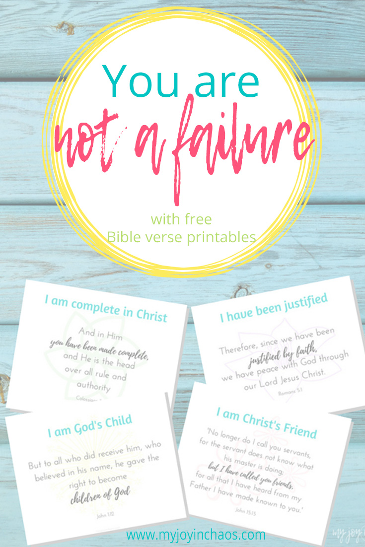 graphic about Who I Am in Christ Printable identified as Yourself are not a failure Absolutely free Printable Bible Verses My Contentment