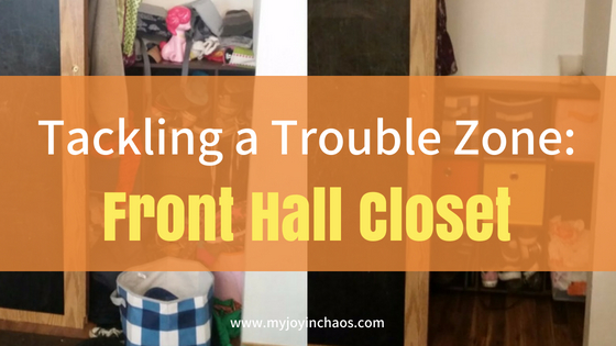 The front hall closet often becomes a drop and run zone. Without decluttering and organizing on a regular basis it can become overwhelming - like it did for us. See how I got it back to a more manageable state and find some tricks and tools that can help your front closet stay organized as well! #coatclosetorganization #shoestorage #closet #decluttering #organization
