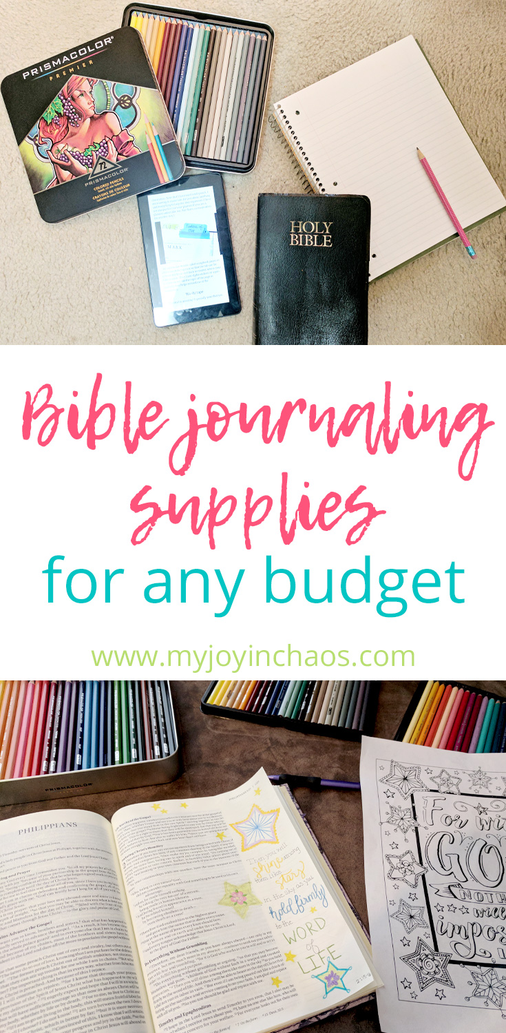 Your budget shouldn't stop you from creating beautiful pages in your journaling Bible - or even in a simple notebook! Find Bible journaling supplies for any budget in this list #biblejournaling #biblejournalingsupplies #journalingbible #drawinmybible #colorinmybible
