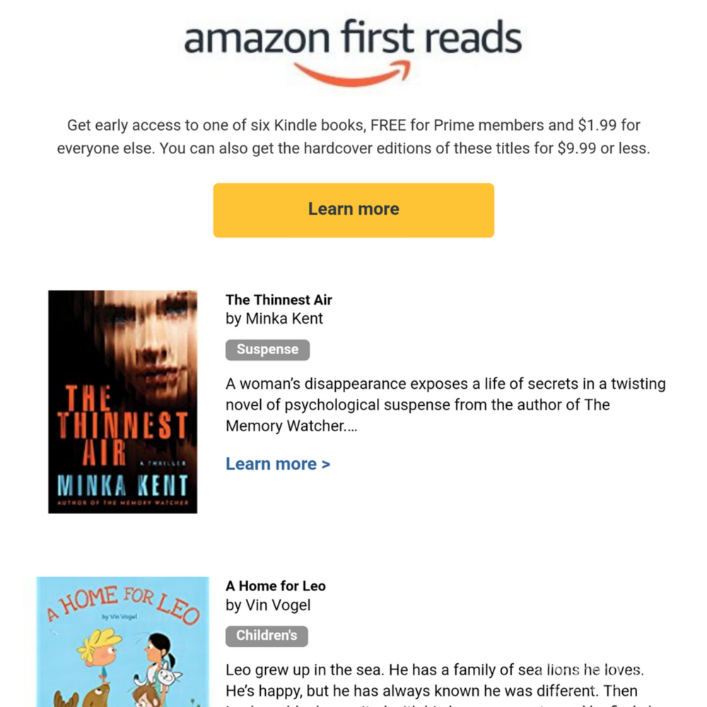 Amazon Prime members get access to one book each month before it's published!