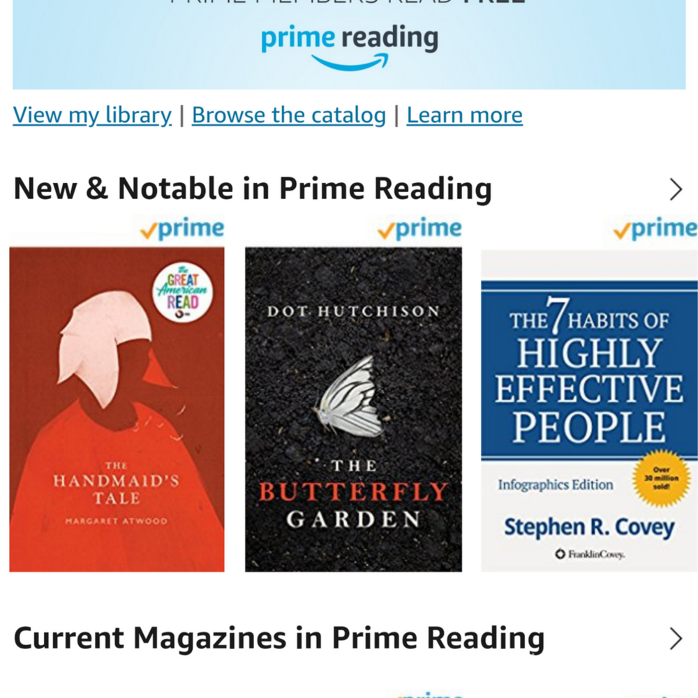 Prime Reading is available for all Prime members and contains ebooks, audiobooks, magazines, and more.