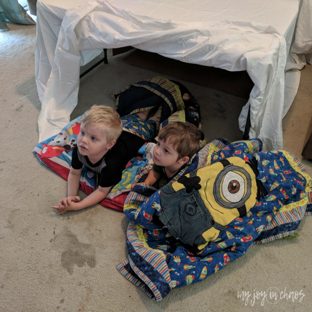 blanket fort - easy toddler preschool play ideas