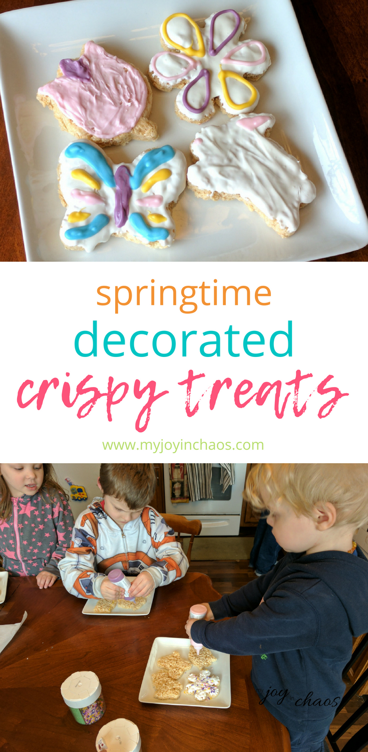 These super cute spring rice crispy treats are made extra adorable with candy melt decorations.