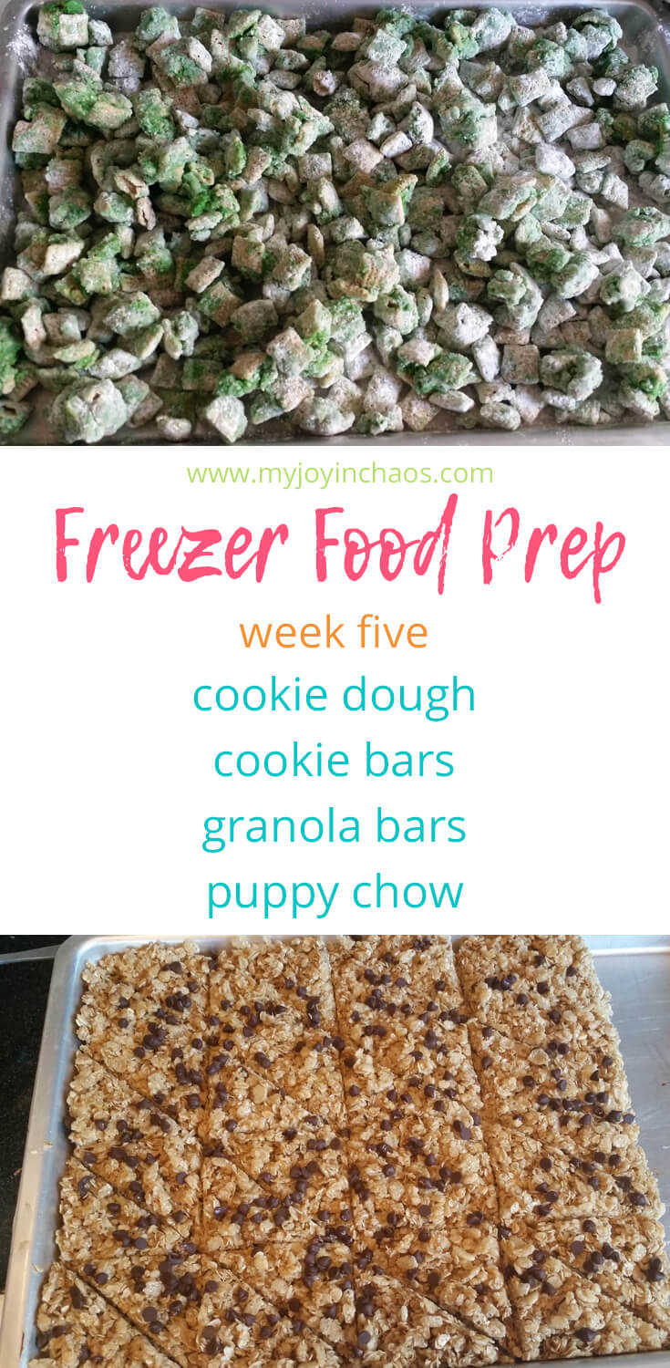 Desserts and snacks work perfect for the freezer (plus it helps prevent mindless snacking!) so lets make cookie bars, cookie dough, granola bars, and puppy chow to satisfy our sweet tooth this school year. #freezercooking #makeaheaddessert #homemadegranolabars