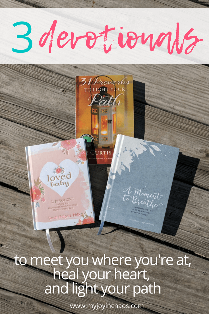 Devotionals are great for supplementing your Bible study or for spending time with God when you can't do a deep dive. Here are three devotionals you should check out. #miscarriage #pregnancyloss #proverbs #incourage #books #amreading